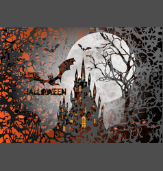 halloween party scary bats and gothic castle vector image