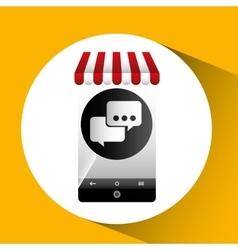 Hand holding e-shopping bubble speech design vector