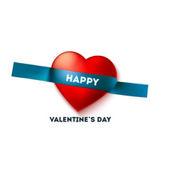 happy valentine s day holiday header on sticky vector image