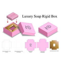 Hard paper soap box mockup with dieline vector