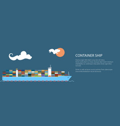 industrial marine vessel banner vector image