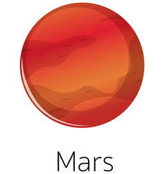 Isolated mars on white background vector
