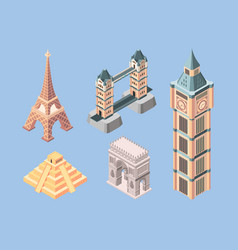 landmarks isometric world famous buildings vector image
