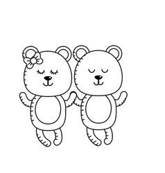 Line cute animal couple bear together vector
