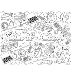 lviv city of ukraine line art design vector image
