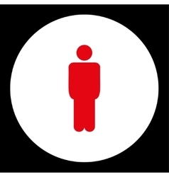 Man flat red and white colors round button vector image