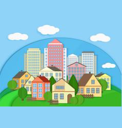 Modern city town cardboard landscape Paper color vector image