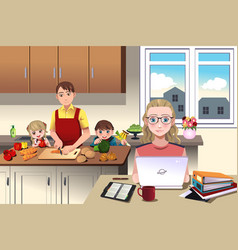 Modern family at home vector