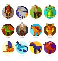 Mythical creatures icons set vector image