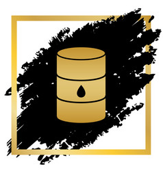 Oil barrel sign golden icon at black spot vector