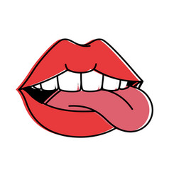 Pop art lips with tongue out vector