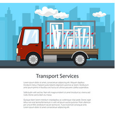 poster of small truck with windows on the road vector image
