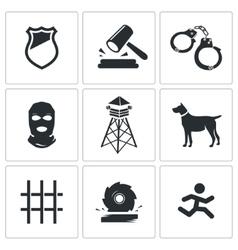 Prison Icons Set vector image