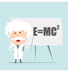 Professor and scientist presenting Einstein vector