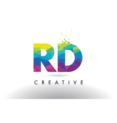 Rd r d colorful letter origami triangles design vector