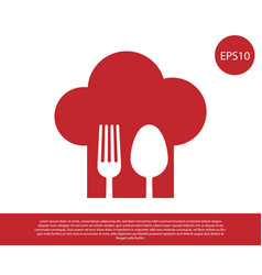 Red chef hat with fork and spoon icon isolated on vector