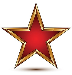 Refined red star with golden outline festive 3d vector