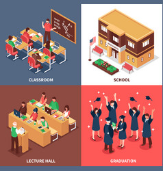 School 4 isometric icons concept vector