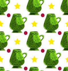 Seamless pattern with cartoon mugs-4 vector image