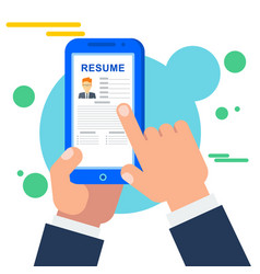 search for staff for a job online in the mobile vector image