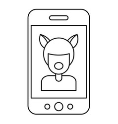 selfie mask animal icon outline style vector image