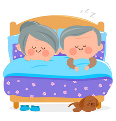 senior couple sleeping together in their bed vector image