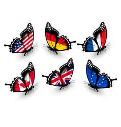 Set butterflies with different flags vector