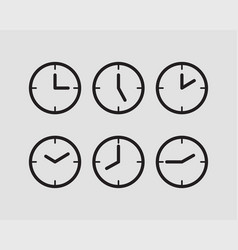 set clock icon time line graphic design elements vector image
