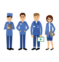 set doctors medical team vector image