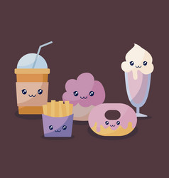 set of bakery pastry kawaii character vector image