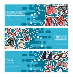 set of horizontal banners about swimming vector image
