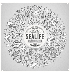 Set of sealife cartoon doodle objects symbols and vector