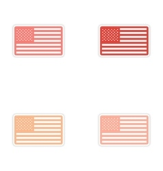Set of stickers American flag on white background vector