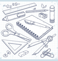 set office supplies stationery for school vector image