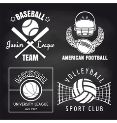 set sport banners on chalkbpard vector image