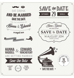 set wedding invitation vintage design elements vector image