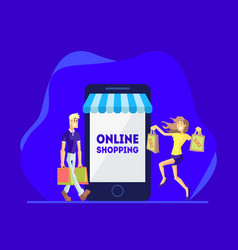 shopping online people shopping using smartphone vector image