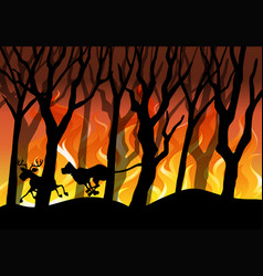 Silhouette wildfire forest background vector
