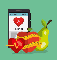 smartphone with healthy lifestyle icons vector image