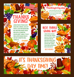 Thanksgiving day greeting banner template set vector