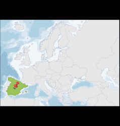 the kingdom spain location on europe map vector image