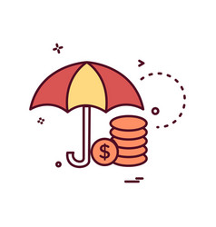 umbrella coins dollar icon design vector image
