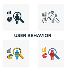 User behavior icon set four elements in diferent vector