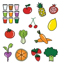 vegetable fruit drawing vector image