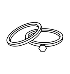 wedding rings love celebration linear style icon vector image