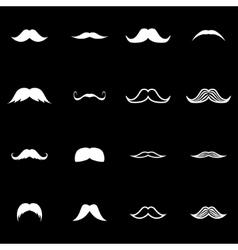 white moustaches icon set vector image