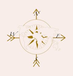 with compass and earth vector image