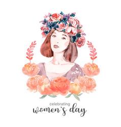 Women day wreath design with flower vector