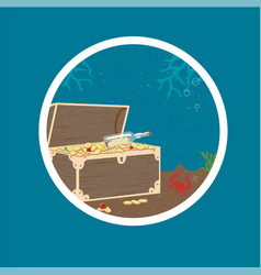 badge with treasure chest on sea bottom vector image vector image