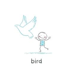 Bird and man vector image
